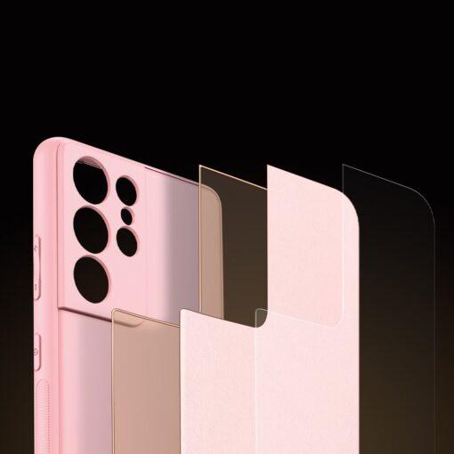 Samsung S21 Ultra umbris Dux Ducis Yolo elegant kunstnahast ja silikoonist servadega roosa 9