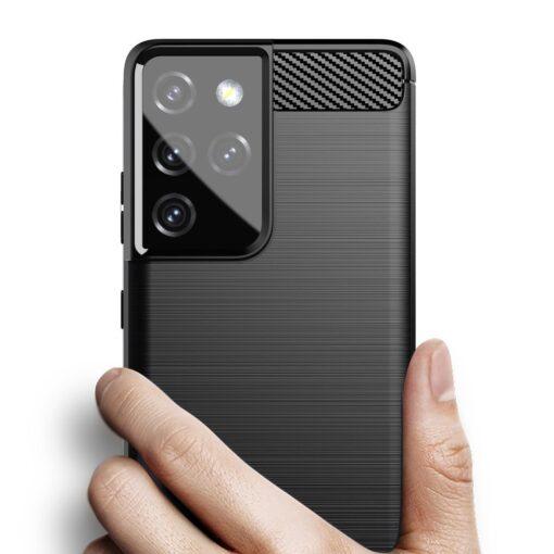 Samsung S21 Ultra umbris silikoonist Carbon must 3