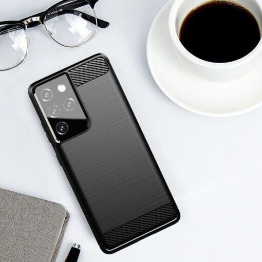 Samsung S21 Ultra umbris silikoonist Carbon must 4