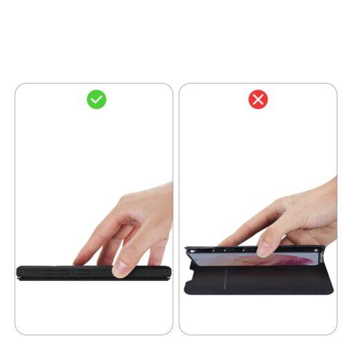 Samsung S21 kunstnahast kaaned kaarditaskuga DUX DUCIS Skin Pro must 11
