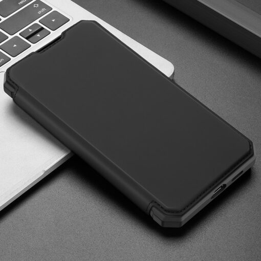 Samsung S21 kunstnahast kaaned kaarditaskuga DUX DUCIS Skin Pro must 13