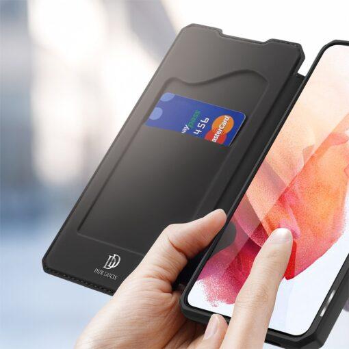 Samsung S21 kunstnahast kaaned kaarditaskuga DUX DUCIS Skin Pro must 2
