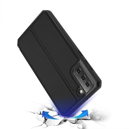 Samsung S21 kunstnahast kaaned kaarditaskuga DUX DUCIS Skin Pro must 3