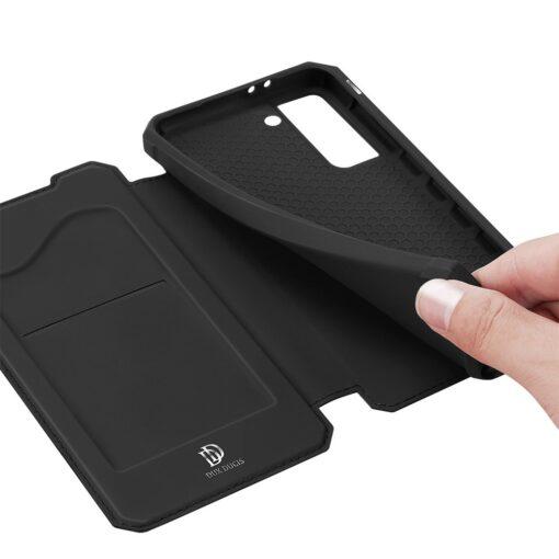 Samsung S21 kunstnahast kaaned kaarditaskuga DUX DUCIS Skin Pro must 6