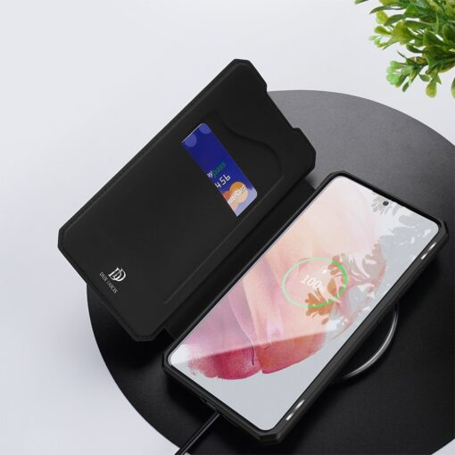 Samsung S21 kunstnahast kaaned kaarditaskuga DUX DUCIS Skin Pro must 7