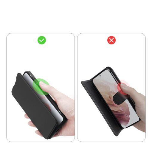 Samsung S21 kunstnahast kaaned kaarditaskuga DUX DUCIS Skin Pro must 8