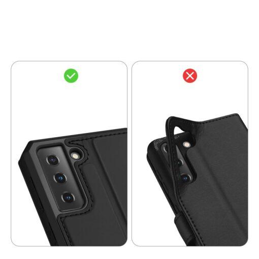 Samsung S21 kunstnahast kaaned kaarditaskuga DUX DUCIS Skin Pro must 9