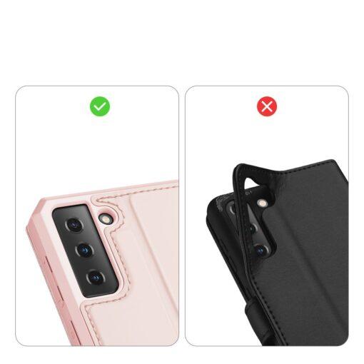Samsung S21 kunstnahast kaaned kaarditaskuga DUX DUCIS Skin Pro roosa 10