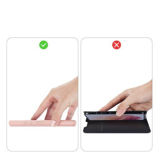 Samsung S21 kunstnahast kaaned kaarditaskuga DUX DUCIS Skin Pro roosa 11