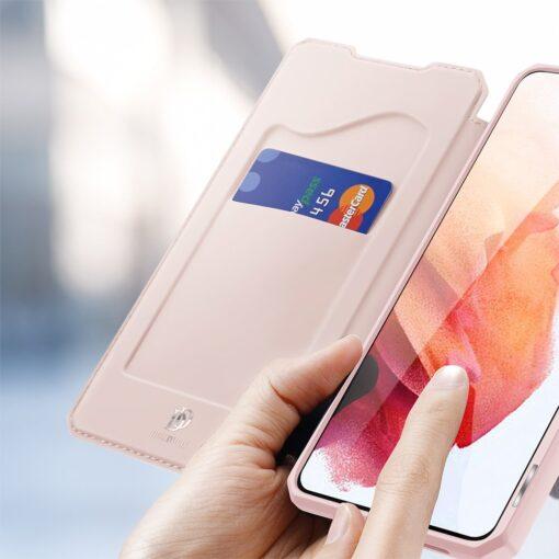 Samsung S21 kunstnahast kaaned kaarditaskuga DUX DUCIS Skin Pro roosa 2