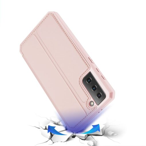 Samsung S21 kunstnahast kaaned kaarditaskuga DUX DUCIS Skin Pro roosa 3