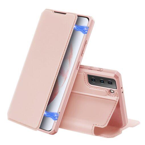 Samsung S21 kunstnahast kaaned kaarditaskuga DUX DUCIS Skin Pro roosa