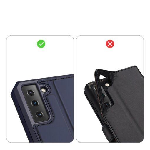 Samsung S21 kunstnahast kaaned kaarditaskuga DUX DUCIS Skin Pro sinine 10