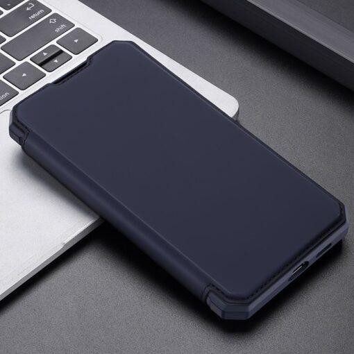 Samsung S21 kunstnahast kaaned kaarditaskuga DUX DUCIS Skin Pro sinine 13