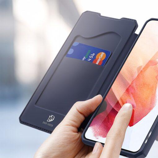 Samsung S21 kunstnahast kaaned kaarditaskuga DUX DUCIS Skin Pro sinine 2
