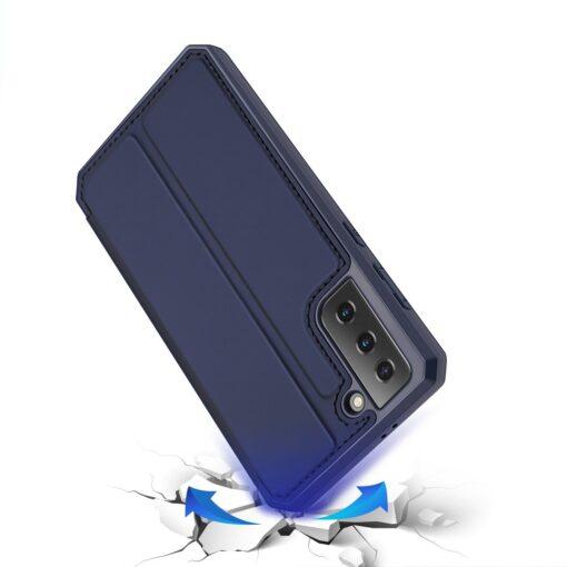 Samsung S21 kunstnahast kaaned kaarditaskuga DUX DUCIS Skin Pro sinine 3