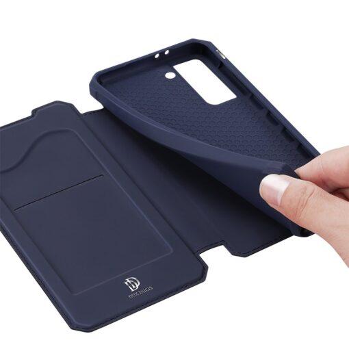 Samsung S21 kunstnahast kaaned kaarditaskuga DUX DUCIS Skin Pro sinine 5
