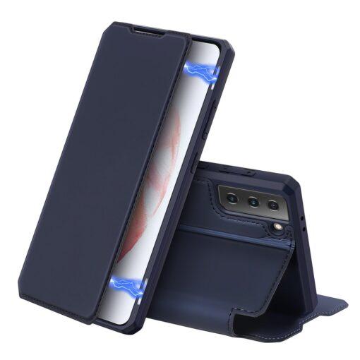 Samsung S21 kunstnahast kaaned kaarditaskuga DUX DUCIS Skin Pro sinine