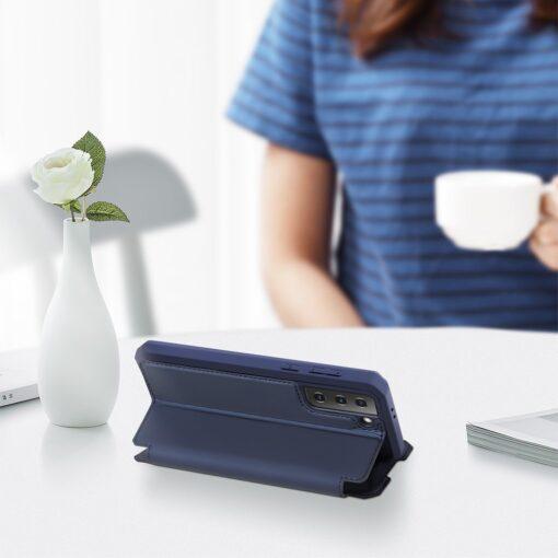Samsung S21 kunstnahast kaaned kaarditaskuga DUX DUCIS Skin Pro sinine 6