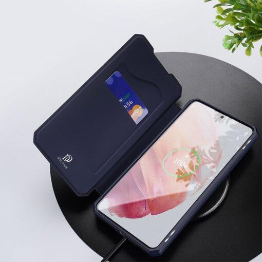 Samsung S21 kunstnahast kaaned kaarditaskuga DUX DUCIS Skin Pro sinine 7