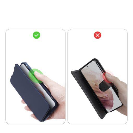 Samsung S21 kunstnahast kaaned kaarditaskuga DUX DUCIS Skin Pro sinine 9