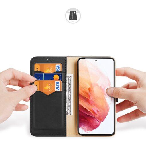 Samsung S21 nahast raamatkaaned Dux Ducis Hivo must 1