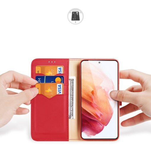 Samsung S21 nahast raamatkaaned Dux Ducis Hivo punane 1