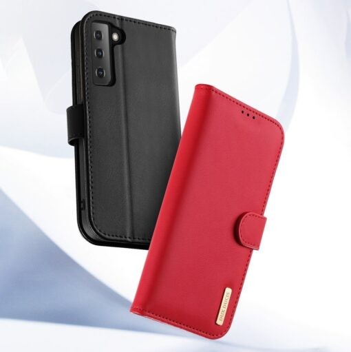 Samsung S21 nahast raamatkaaned Dux Ducis Hivo punane 11