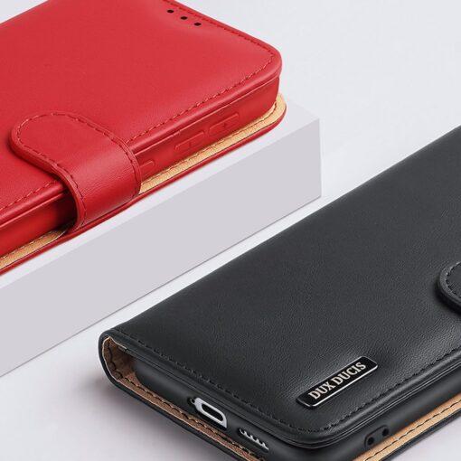 Samsung S21 nahast raamatkaaned Dux Ducis Hivo punane 12