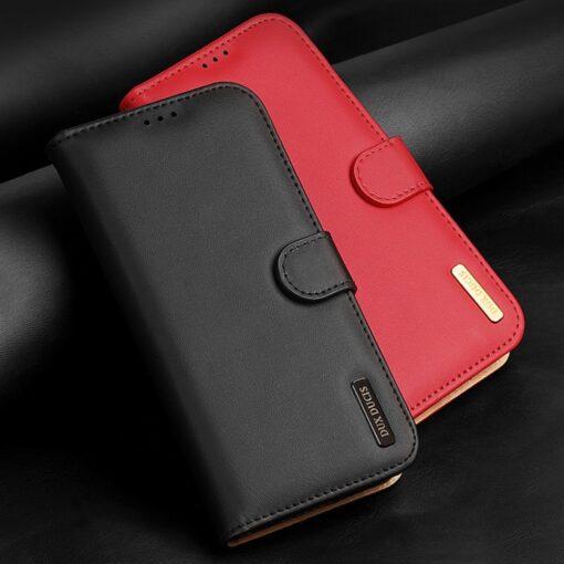 Samsung S21 nahast raamatkaaned Dux Ducis Hivo punane 13