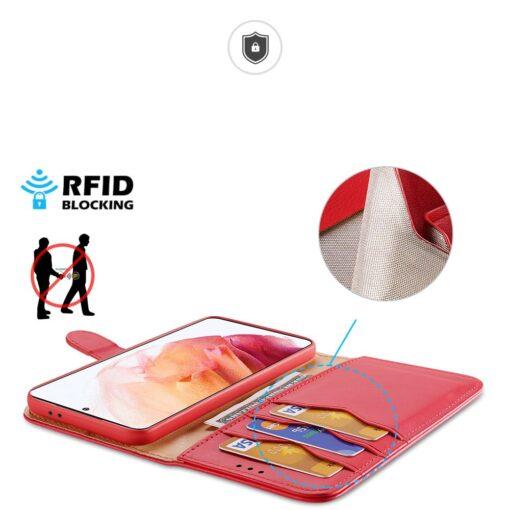 Samsung S21 nahast raamatkaaned Dux Ducis Hivo punane 2
