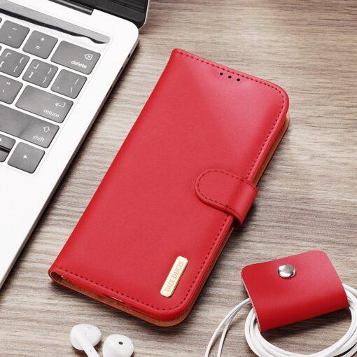 Samsung S21 nahast raamatkaaned Dux Ducis Hivo punane 21