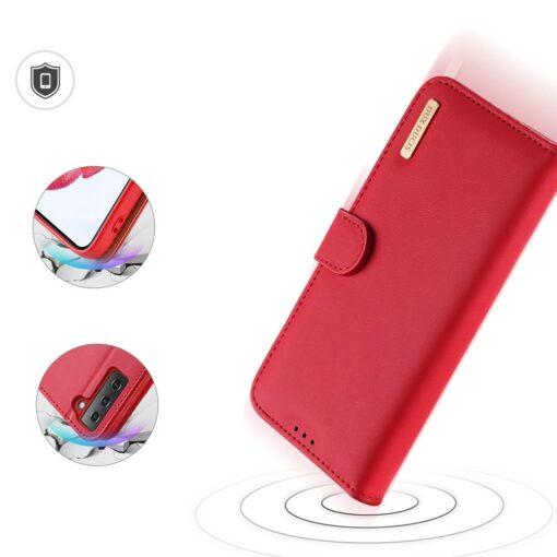 Samsung S21 nahast raamatkaaned Dux Ducis Hivo punane 3