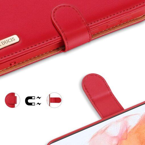 Samsung S21 nahast raamatkaaned Dux Ducis Hivo punane 5