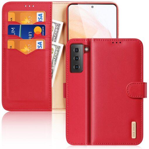 Samsung S21 nahast raamatkaaned Dux Ducis Hivo punane