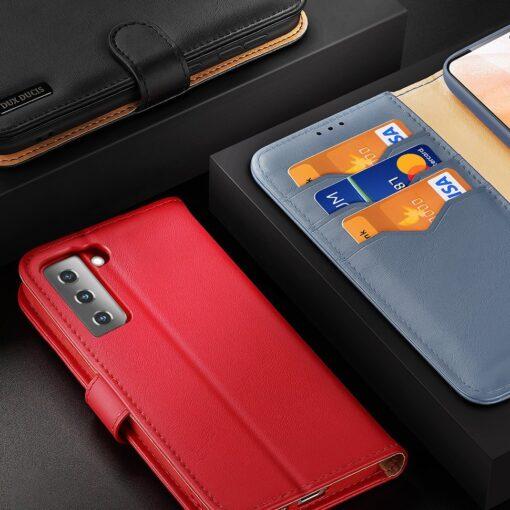 Samsung S21 nahast raamatkaaned Dux Ducis Hivo punane 8