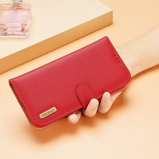 Samsung S21 nahast raamatkaaned Dux Ducis Hivo punane 9