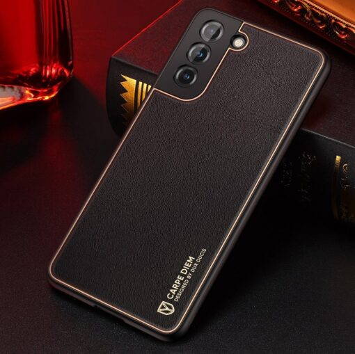 Samsung S21 umbris Dux Ducis Yolo elegant kunstnahast ja silikoonist servadega must 14