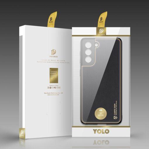 Samsung S21 umbris Dux Ducis Yolo elegant kunstnahast ja silikoonist servadega must 4