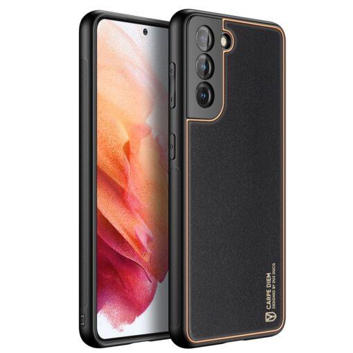 Samsung S21 umbris Dux Ducis Yolo elegant kunstnahast ja silikoonist servadega must