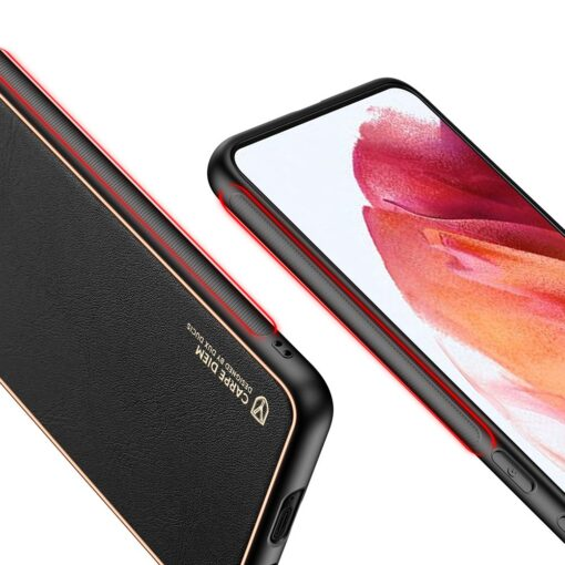 Samsung S21 umbris Dux Ducis Yolo elegant kunstnahast ja silikoonist servadega must 7