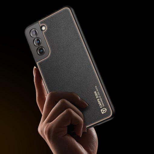 Samsung S21 umbris Dux Ducis Yolo elegant kunstnahast ja silikoonist servadega must 8
