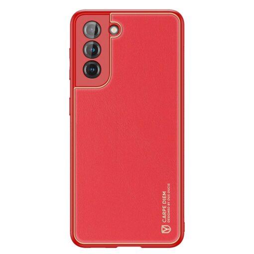 Samsung S21 umbris Dux Ducis Yolo elegant kunstnahast ja silikoonist servadega punane 1