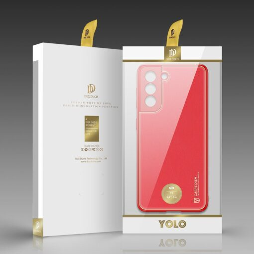 Samsung S21 umbris Dux Ducis Yolo elegant kunstnahast ja silikoonist servadega punane 12