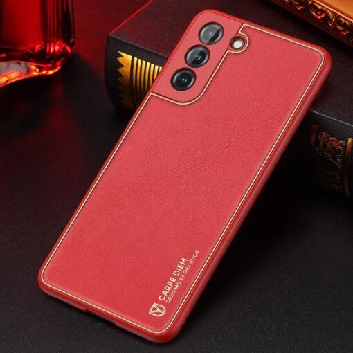 Samsung S21 umbris Dux Ducis Yolo elegant kunstnahast ja silikoonist servadega punane 14