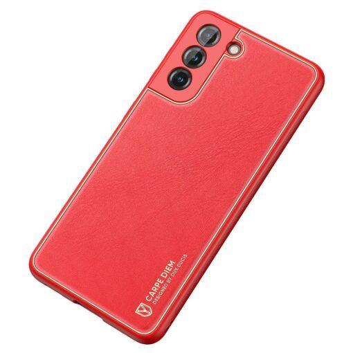 Samsung S21 umbris Dux Ducis Yolo elegant kunstnahast ja silikoonist servadega punane 3