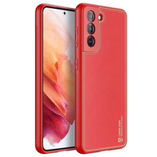 Samsung S21 umbris Dux Ducis Yolo elegant kunstnahast ja silikoonist servadega punane