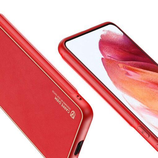 Samsung S21 umbris Dux Ducis Yolo elegant kunstnahast ja silikoonist servadega punane 6