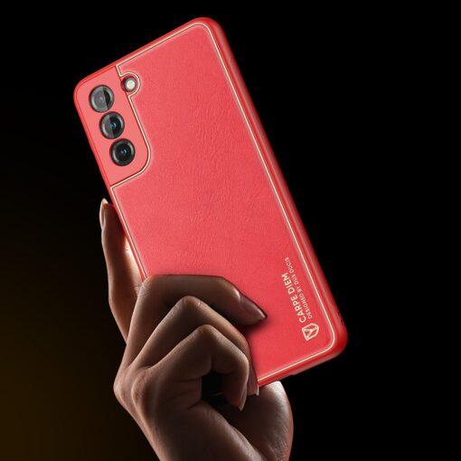 Samsung S21 umbris Dux Ducis Yolo elegant kunstnahast ja silikoonist servadega punane 7