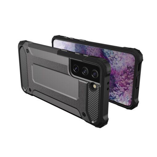 Samsung S21 umbris Hybrid Armor plastikust taguse ja silikoonist raamiga must 7